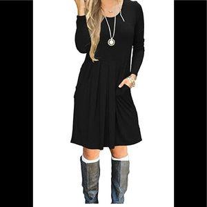 Auslilly cotton dress pockets knee length - L